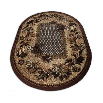 Dywan klasyczny BCF Ankara  01 owalny brązowy- kwiaty