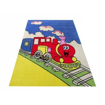Dywan Enfants 07 - niebieski- dziecięcy- lokomotywa
