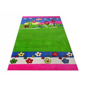 Dywan Enfants 09 - zielono-różowy- dziecięcy-łąka