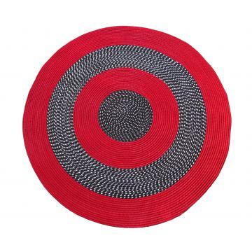 Dywan Corda koło - czerwony- sznurkowy- sizal