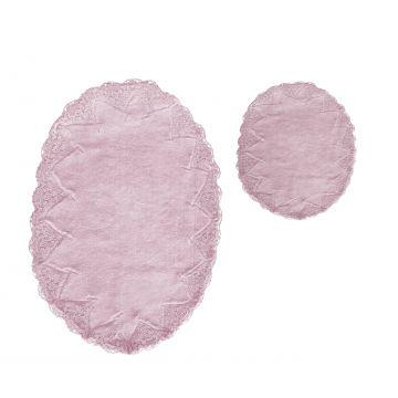 Komplet łazienkowy koronkowy WENECJA - pudrowy róż