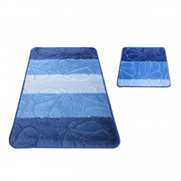 Dywaniki łazienkowe Monako 01 - niebieskie- antypoślizgowy