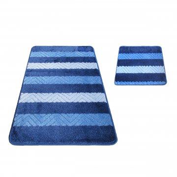 Dywaniki łazienkowe Monako 02 - niebieskie- antypoślizgowy