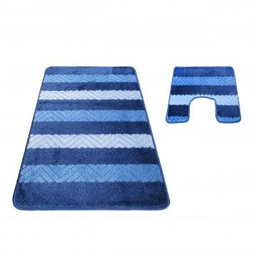 Dywaniki łazienkowe Monako 02 z wycięciem pod toaletę - niebieskie- antypoślizgowy