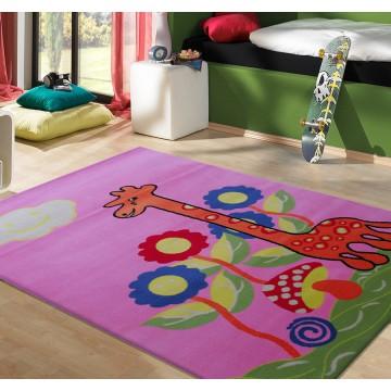Dywan Kiddie 02 - różowy- dziecięcy- żyrafa