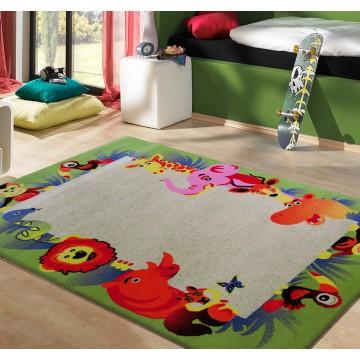 Dywan Kiddie 12 - kremowo-zielony- dziecięcy- zoo