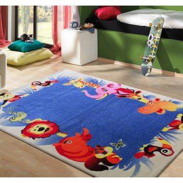 Dywan Kiddie 12 - kremowo-niebieski- dziecięcy- zoo