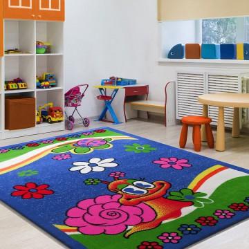 Dywan Enfants 01 - niebieski- dziecięcy- ślimaczek