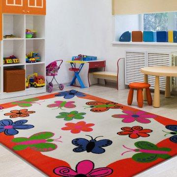Dywan Enfants 03 - pomarańczowy- dziecięcy- motylki - kwiatki