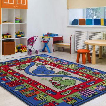 Dywan Enfants 10 - niebieski- dziecięcy- miasto