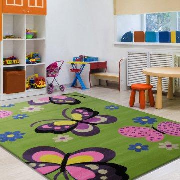 Dywan Enfants 17 - zielony- dziecięcy dla dziewczynki-motylki