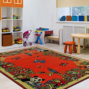 Dywan Enfants 13 - pomarańczowy- dziecięcy- safari