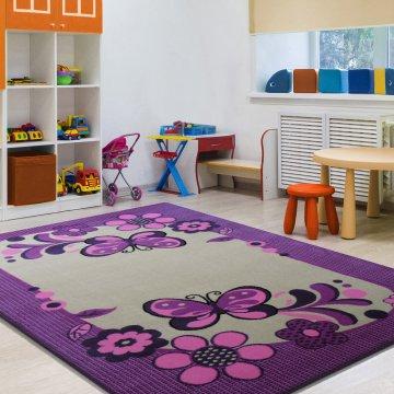 Dywan Enfants 14 - fioletowo-kremowy- dziecięcy- dla dziewczynki- motylki