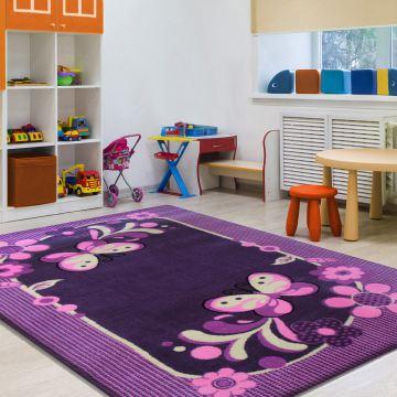 Dywan Enfants 14 - fiolet- dziecięcy- dla dziewczynki- motylki