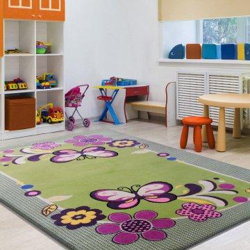 Dywan Enfants14 - zielony- dziecięcy- dla dziewczynki- motylki