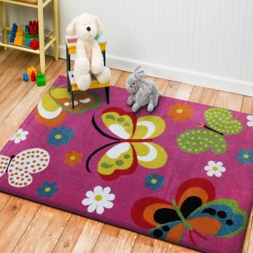 Dywan dla dzieci Bambino 14 - lila motyle