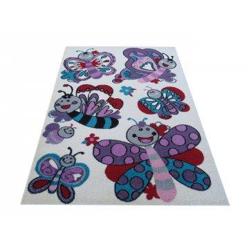 Dywan dziecięcy Lovela 03S kremowy w motylki