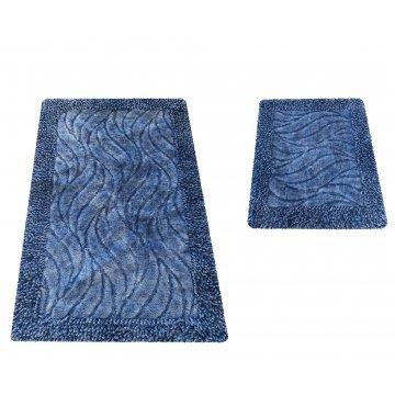 Komplet dywaników łazienkowych Berlin 03N Niebieskie