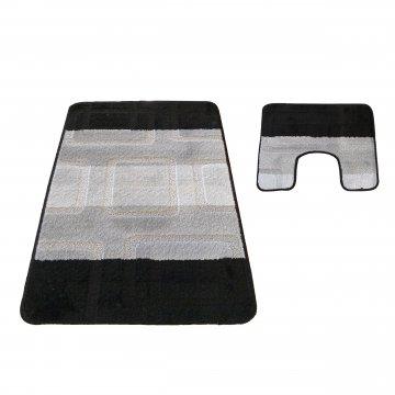 Dywaniki łazienkowe- Monako 04N czarno- szare- z wycięciem pod toaletę- antypoślizgowe