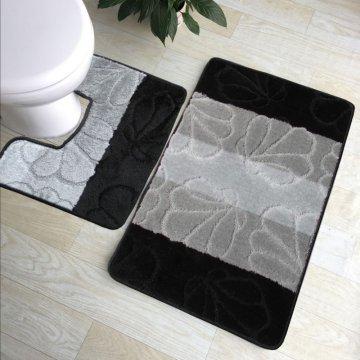 Dywaniki łazienkowe Monako 01- z wycięciem pod toaletę - czarne- antypoślizgowy
