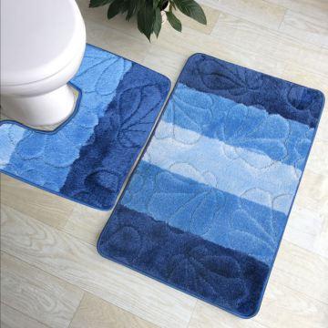 Dywaniki łazienkowe Monako 01 z wycięciem pod toaletę - niebieskie- antypoślizgowy