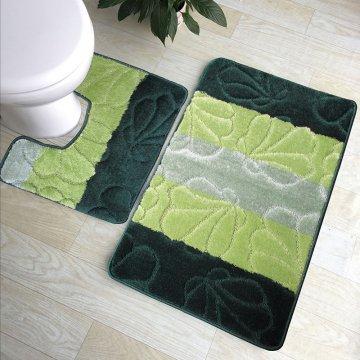 Dywaniki łazienkowe Monako 01 z wycięciem pod toaletę - zielone- antypoślizgowy