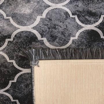 Dywan antypoślizgowy nowoczesny czarny koniczyna Universal 01(N)- do prania