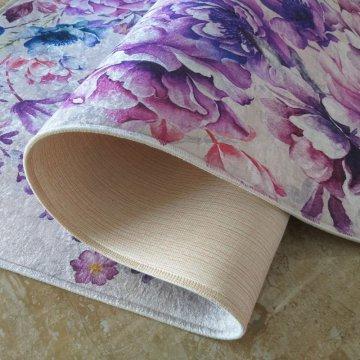 Dywan antypoślizgowy nowoczesny fioletowe kwiaty Universal 03 (N)- do prania