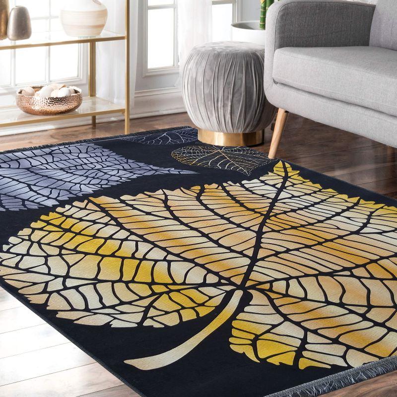 Dywan antypoślizgowy nowoczesny złoty liść UNIVERSAL 09- do prania