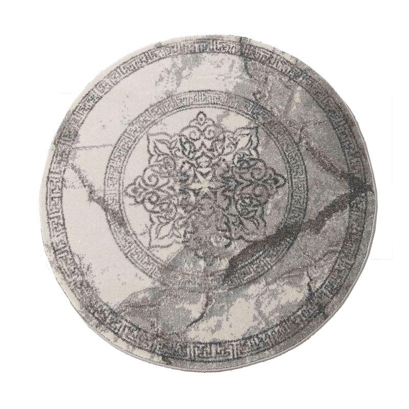 Dywan nowoczesny szary okrągły Grigio 04 szary rozeta