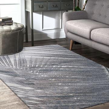 Dywan do salonu nowoczesny szary Lusso 3- z motywem palmy