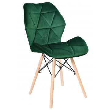 Krzesło tapicerowane RENNE VELVET - aksamit- butelkowa zieleń