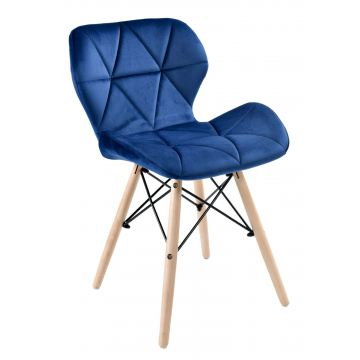 Krzesło tapicerowane RENNE VELVET - aksamit- granatowe