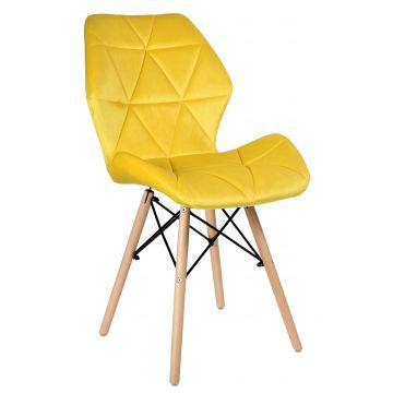Krzesło tapicerowane RENNE VELVET - aksamit- żółte
