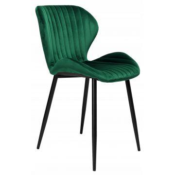 Krzesło welurowe DALLY VELVET butelkowa zieleń