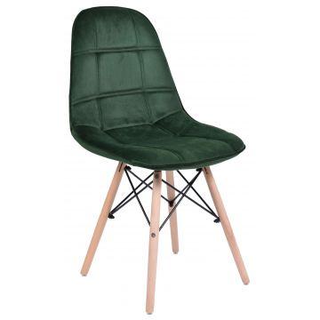 Krzesło welurowe Ly - butelkowa zieleń