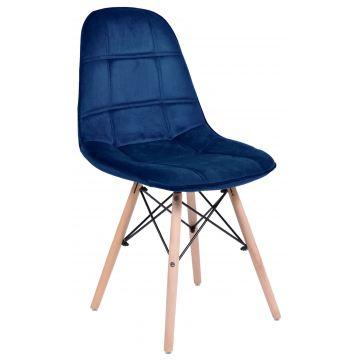 Krzesło welurowe Ly - granatowy