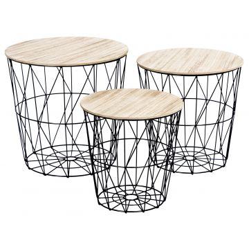 Zestaw stolików koszy drucianych APRI - 3 sztuki