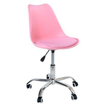 Fotel biurowy obrotowy Elmy na kółkach- różowy