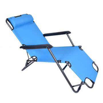 Fotel Leżak ogrodowy/ plażowy LEY - niebieski
