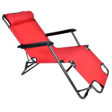 Fotel Leżak ogrodowy/ plażowy LEY - czerwony