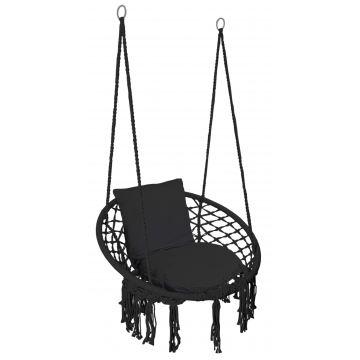 Fotel wiszący Bocianie gniazdo TOGY czarny poduszki