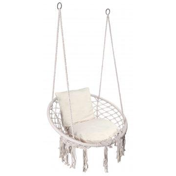 Fotel wiszący Bocianie gniazdo TOGY kremowy poduszki