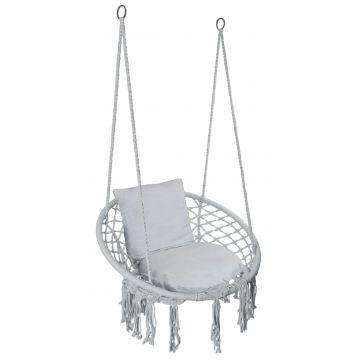 Fotel wiszący Bocianie gniazdo TOGY szary poduszki