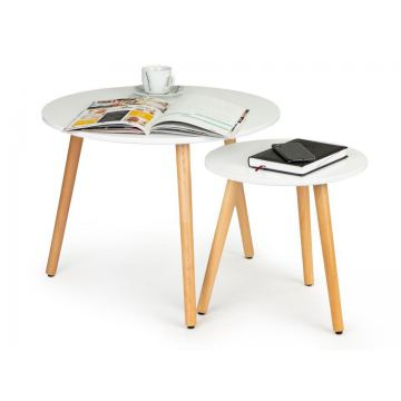 Zestaw 2 okrągłych stolików kawowych salon jadalnia