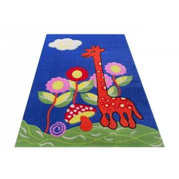 Dywan Kiddie 02 - niebieski- dziecięcy- żyrafa