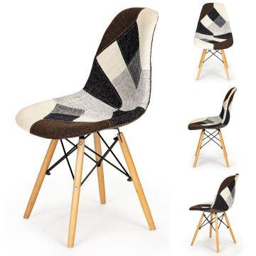 Zestaw 2 krzeseł patchwork design salon jadalnia