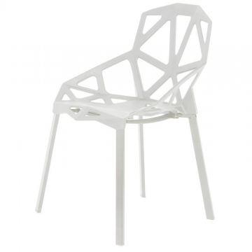 Zestaw ażurowych krzeseł nowoczesny design białe- 4 sztuki