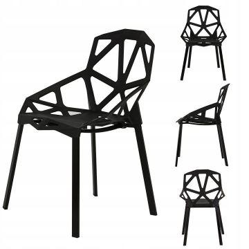 Zestaw nowoczesnych ażurowych krzeseł- czarne- 4 szt