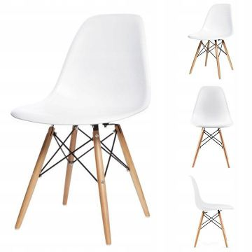 Zestaw 4 krzeseł do salonu jadalni- białe